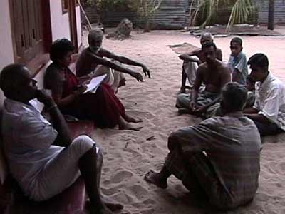 �Let the Villagers be Heard' village meeting at Tambiluvil, Ampara dist. on 2 July 2004.