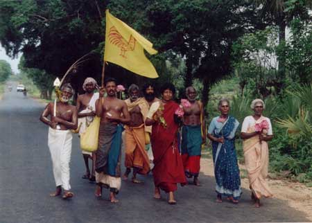 Pada Yatra pilgrims walking through Kilinochchi District