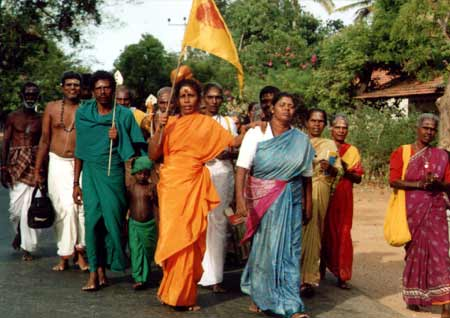 Pada Yatra pilgrims on foot to Sella Kataragama