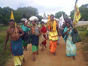Pada Yatra pilgrims set out from Okanda Malai Murugan Kovil
