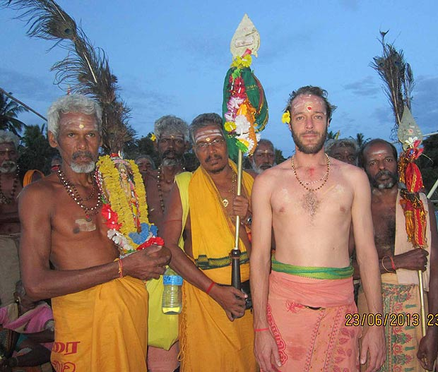 Pada Yatra pilgrims including author Ben Vecchiet en route to Kataragama, June 2013